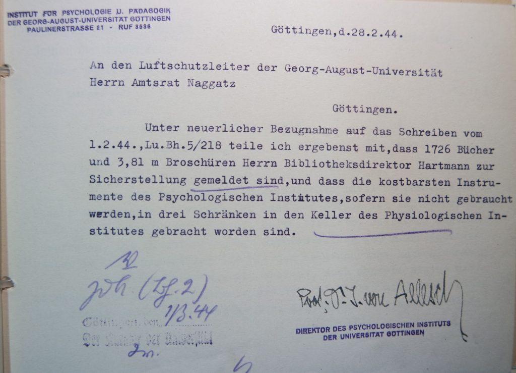 Schreiben vom 28.2.1944 von Professor Allesch, Direktor des Instituts für Psychologie und Pädagogik, an den Luftschutzleiter der Universität, Herrn Naggatz. Quelle: Universitätsarchiv Göttingen, Kuratorium, Kur. 161.