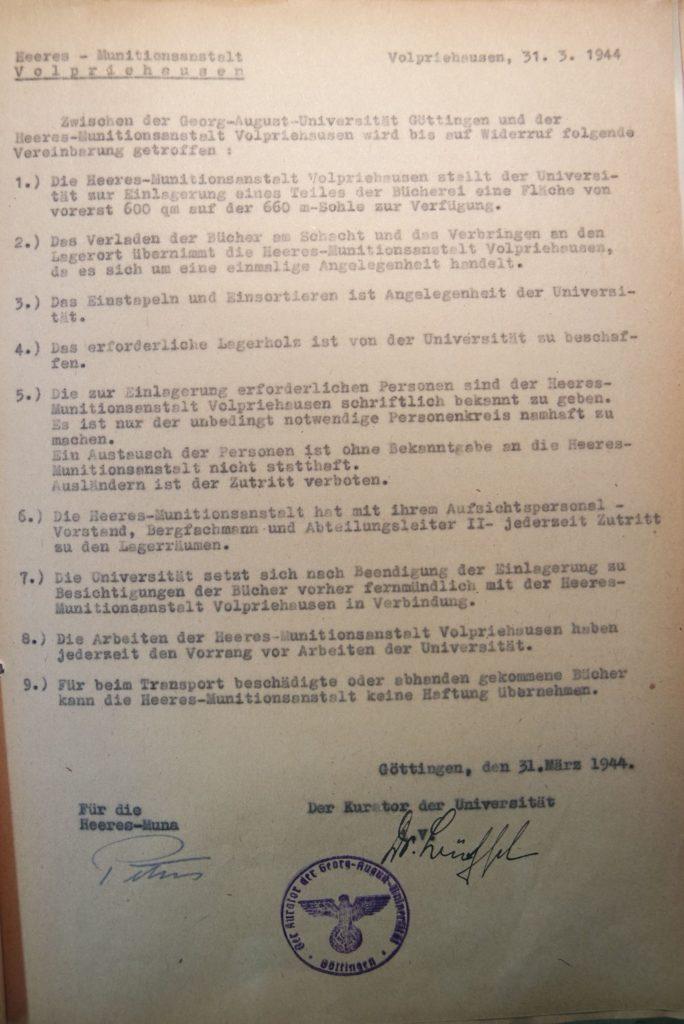 Vereinbarung zwischen der Universität Göttingen und der Heeres-Munitionsanstalt Volpriehausen vom 31.3.1944 über die Einlagerung von Bücherbeständen