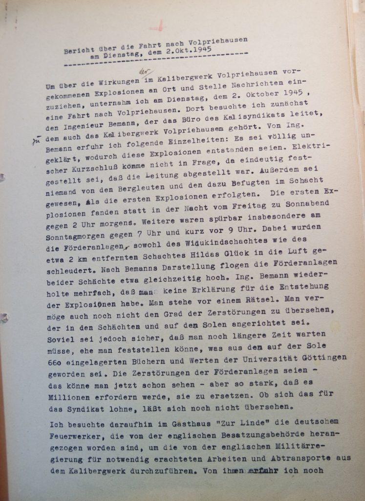 Bericht vom 2.10.1945 über den Besuch des Bergwerkes in Volpriehausen nach den Explosionen, Seite 1. Quelle: Universitätsarchiv Göttingen, Kuratorium, Kur. 161.
