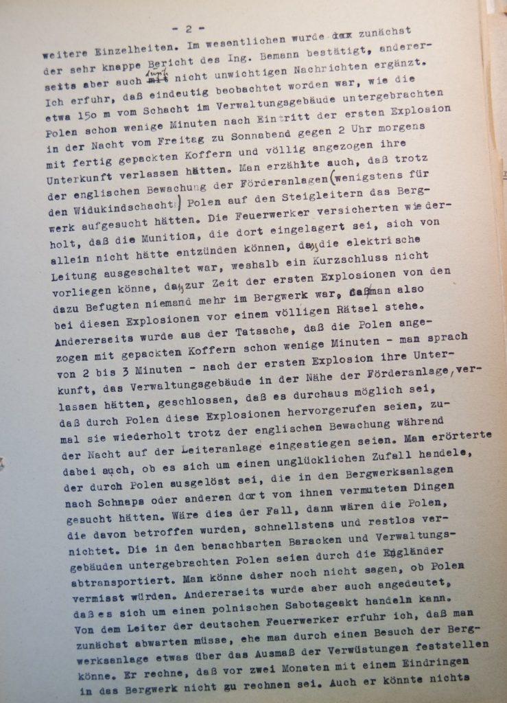 Bericht vom 2.10.1945 über den Besuch des Bergwerkes in Volpriehausen nach den Explosionen, Seite 2. Quelle: Universitätsarchiv Göttingen, Kuratorium, Kur. 161.