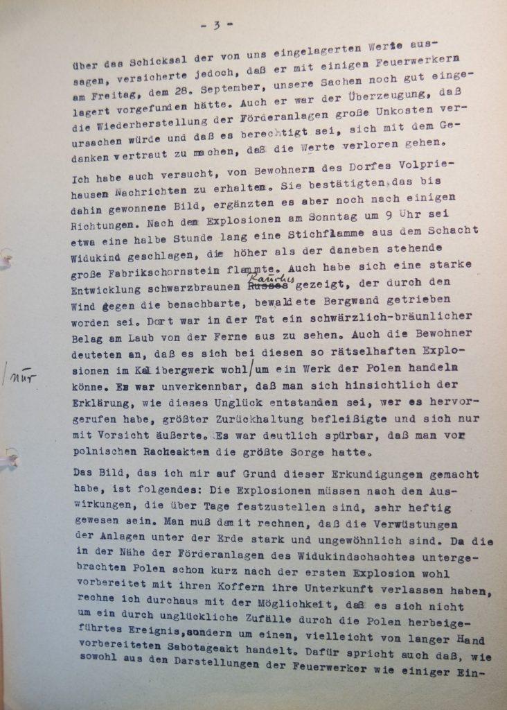 Bericht vom 2.10.1945 über den Besuch des Bergwerkes in Volpriehausen nach den Explosionen, Seite 3. Quelle: Universitätsarchiv Göttingen, Kuratorium, Kur. 161.