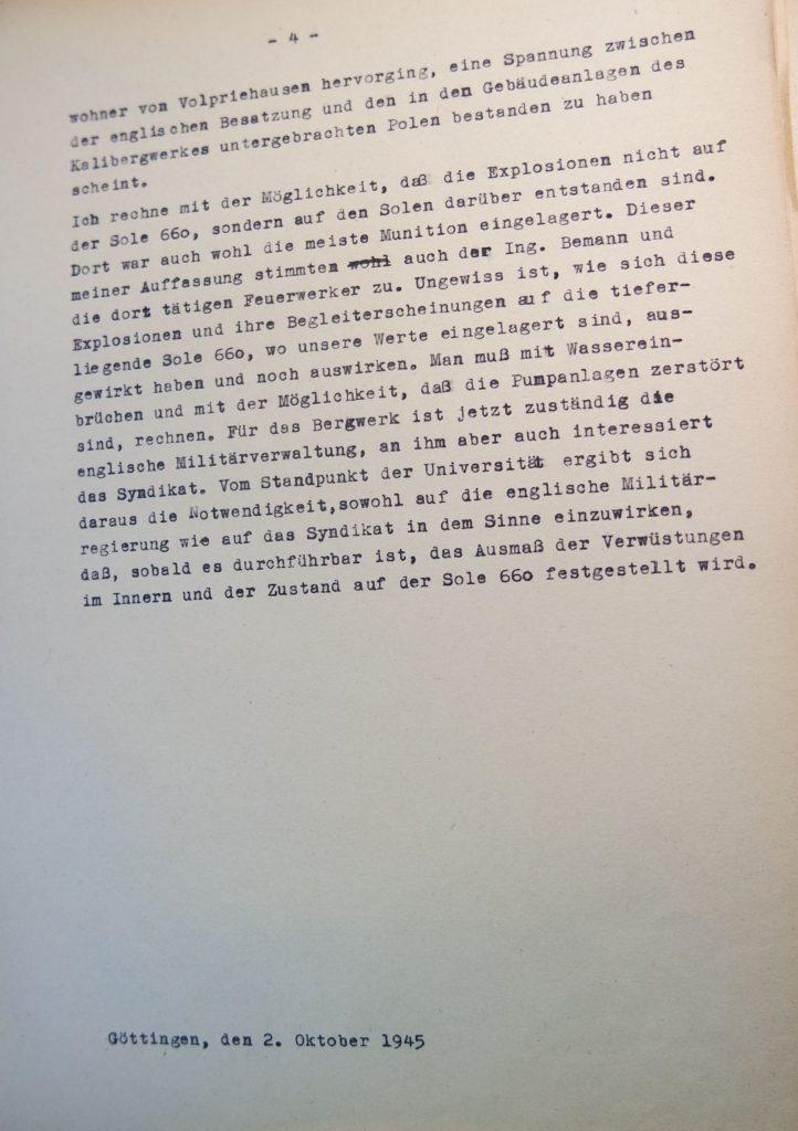 Bericht vom 2.10.1945 über den Besuch des Bergwerkes in Volpriehausen nach den Explosionen, Seite 4. Quelle: Universitätsarchiv Göttingen, Kuratorium, Kur. 161.