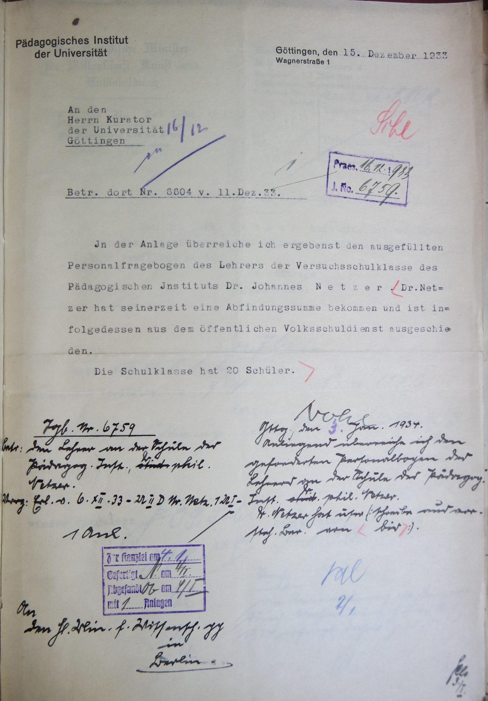Brief Herman Nohls vom 15.12.1933 an den Kurator der Universität. Quelle: Universitätsarchiv Göttingen: Kur. 1263; unpag.