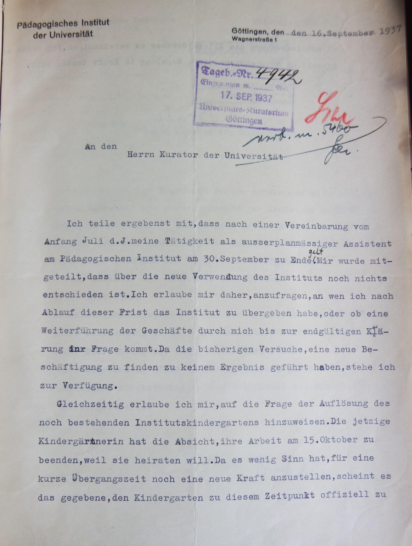 Brief des außerplanmäßigen Assistenten Jürgen Brakes vom 16.09.1937 an den Kurator der Universität, Seite 1. Quelle: Universitätsarchiv Göttingen: Kur. 1263; unpag.