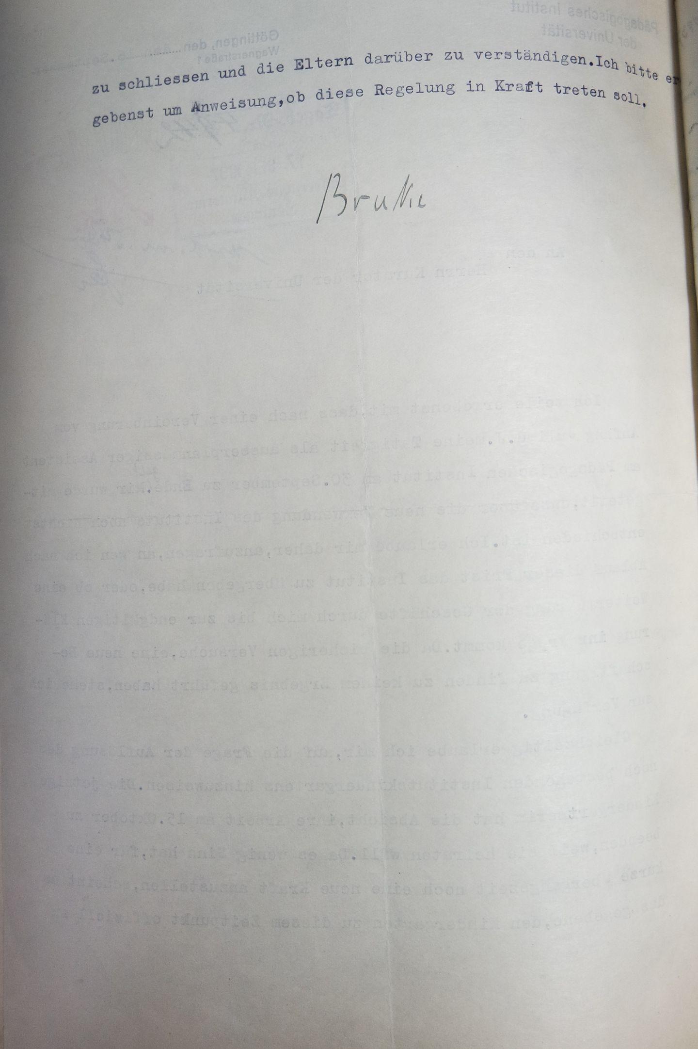 Brief des außerplanmäßigen Assistenten Jürgen Brakes vom 16.09.1937 an den Kurator der Universität, Seite 2. Quelle: Universitätsarchiv Göttingen: Kur. 1263; unpag.