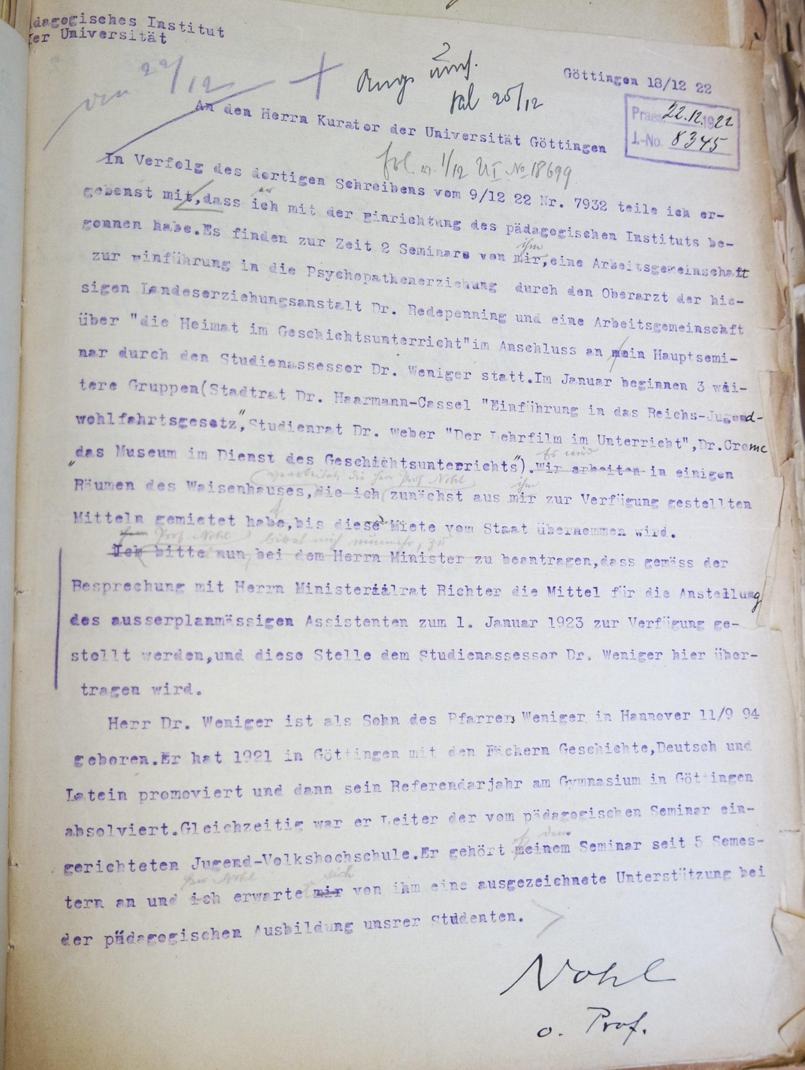 Brief Nohls vom 18.12.1922 an den Kurator der Universität. Quelle: Universitätsarchiv Göttingen, Kur. 1263; unpag.