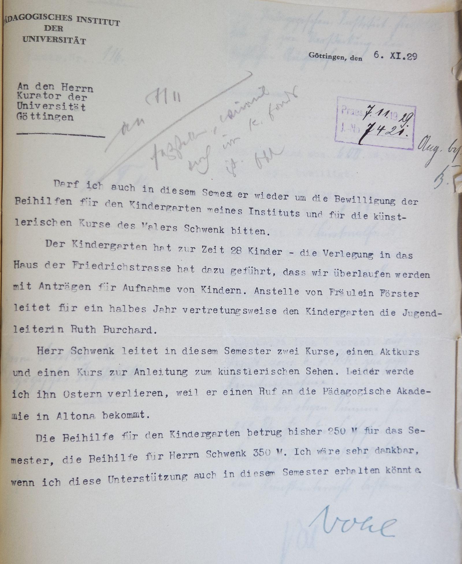 Brief Herman Nohls vom 06.11.1929 an den Kurator der Universität. Quelle: Universitätsarchiv Göttingen: Kur. 1263; unpag.