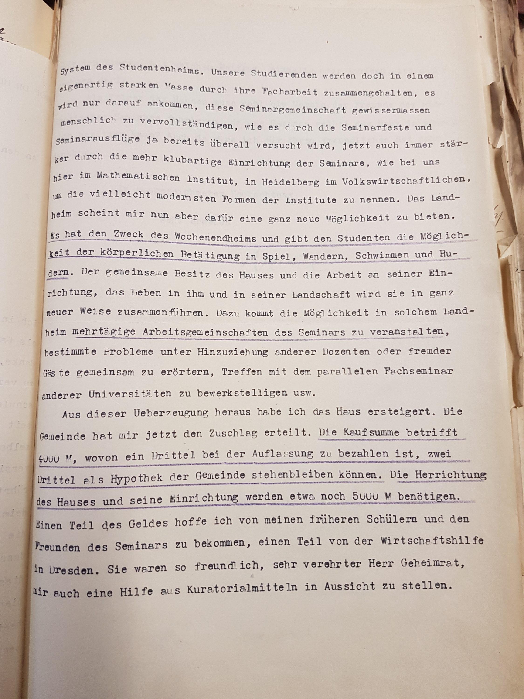 Brief Nohls vom 15.10.1929 an den Kurator der Universität betreffend die Ersteigerung eines Hauses als Landheim in Lippoldsberg, Seite 2. Quelle: Universitätsarchiv Göttingen: Kur. 1263; unpag.