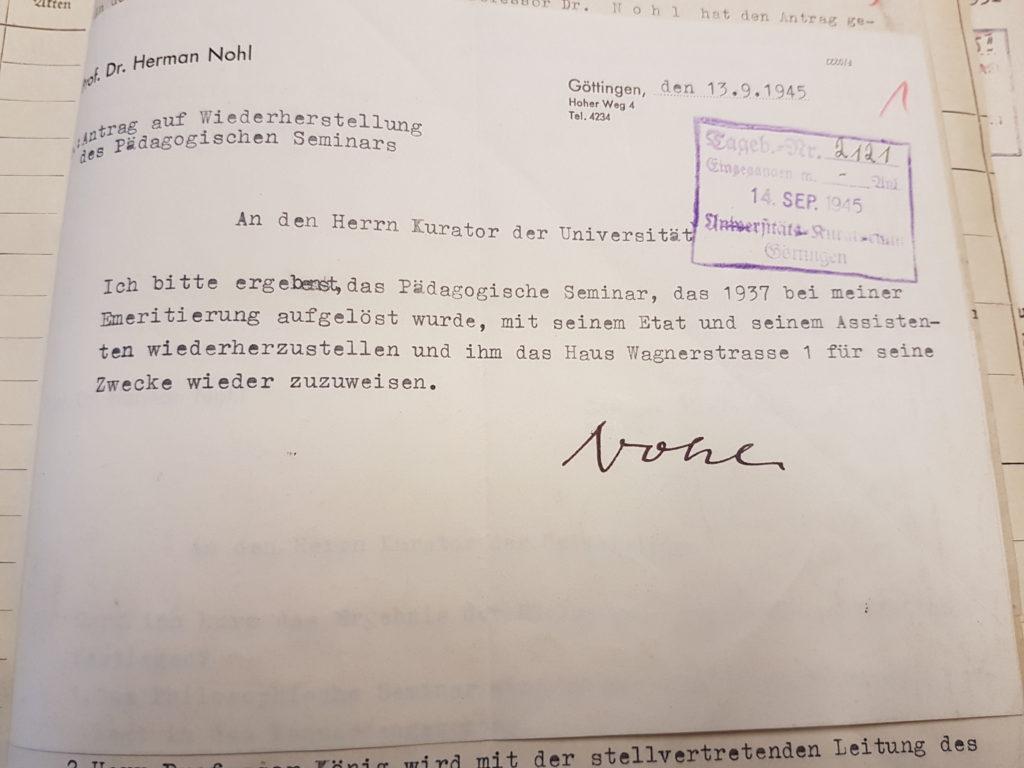 Nohls Antrag an den Kurator der Universität auf Wiederherstellung des Pädagogischen Seminars in der Wagnerstraße