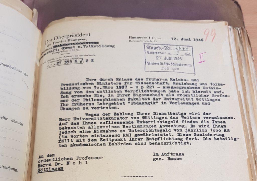 Offizielle Wiedereinsetzung Herman Nohls