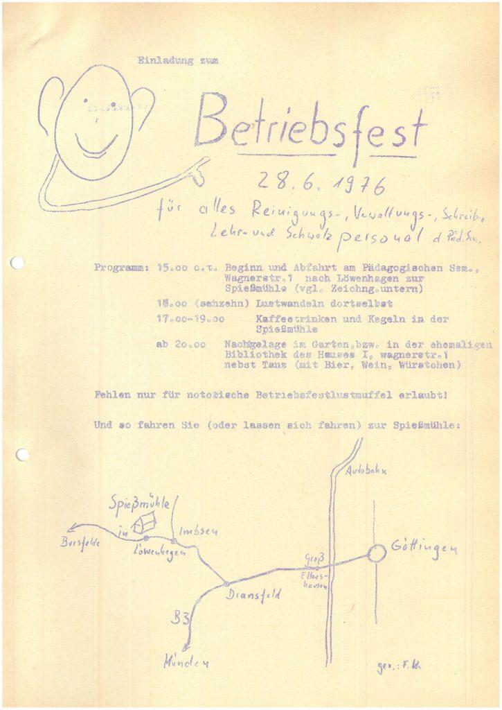"""Einladung zum Betriebsfest """"für alles Reinigungs-, Verwaltungs-, Schreib-, Lehr- und Schwatzpersonal"""""""