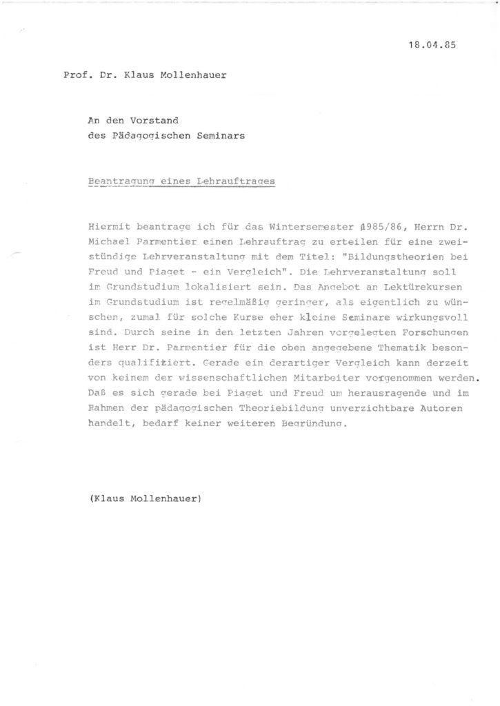Beantragung eines Lehrauftrages für Herrn Dr. Michael Parmentier