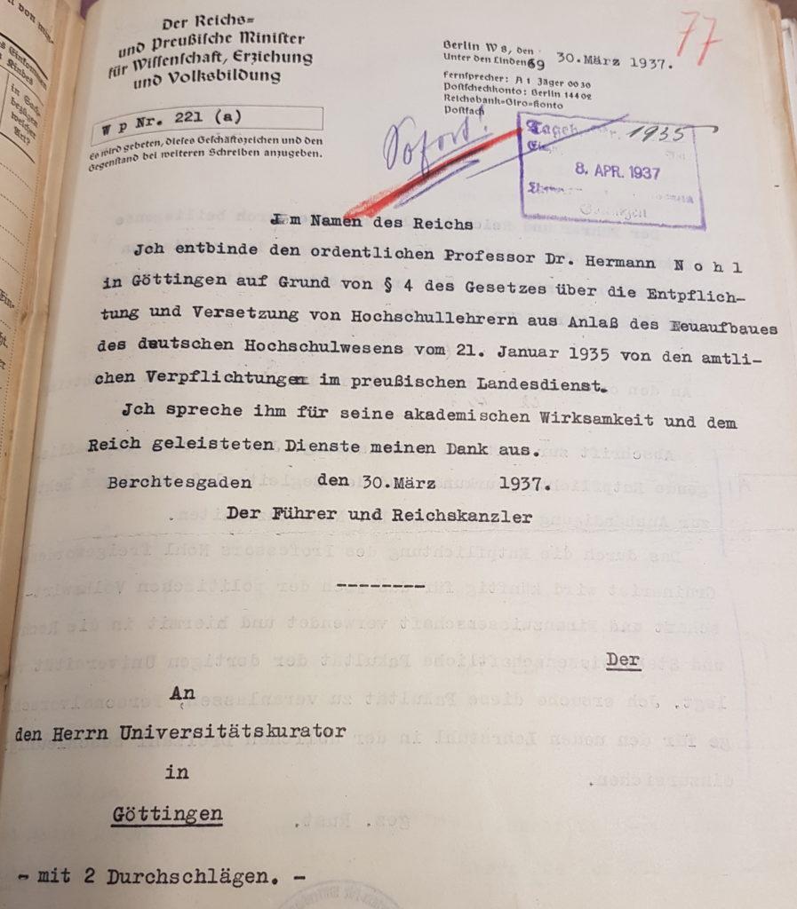 Entpflichtung Herman Nohls