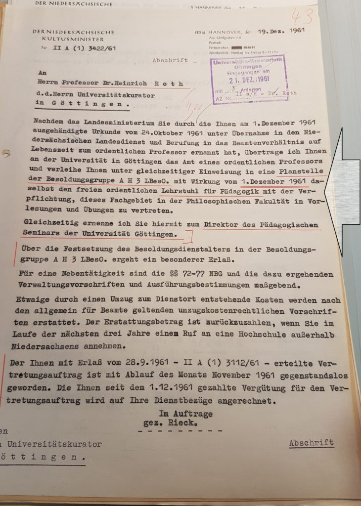 Übernahme Lehrstuhl der Pädagogik durch Heinrich Roth