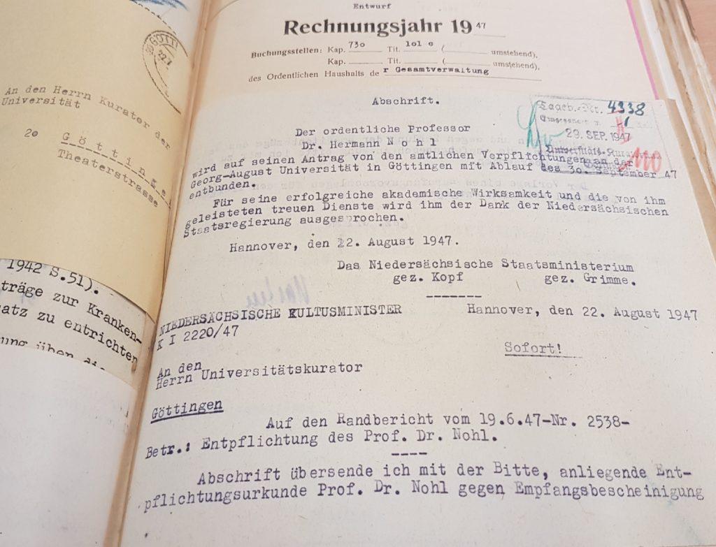 Emeritierung bzw. Entbindung von Amtspflichten Herman Nohl