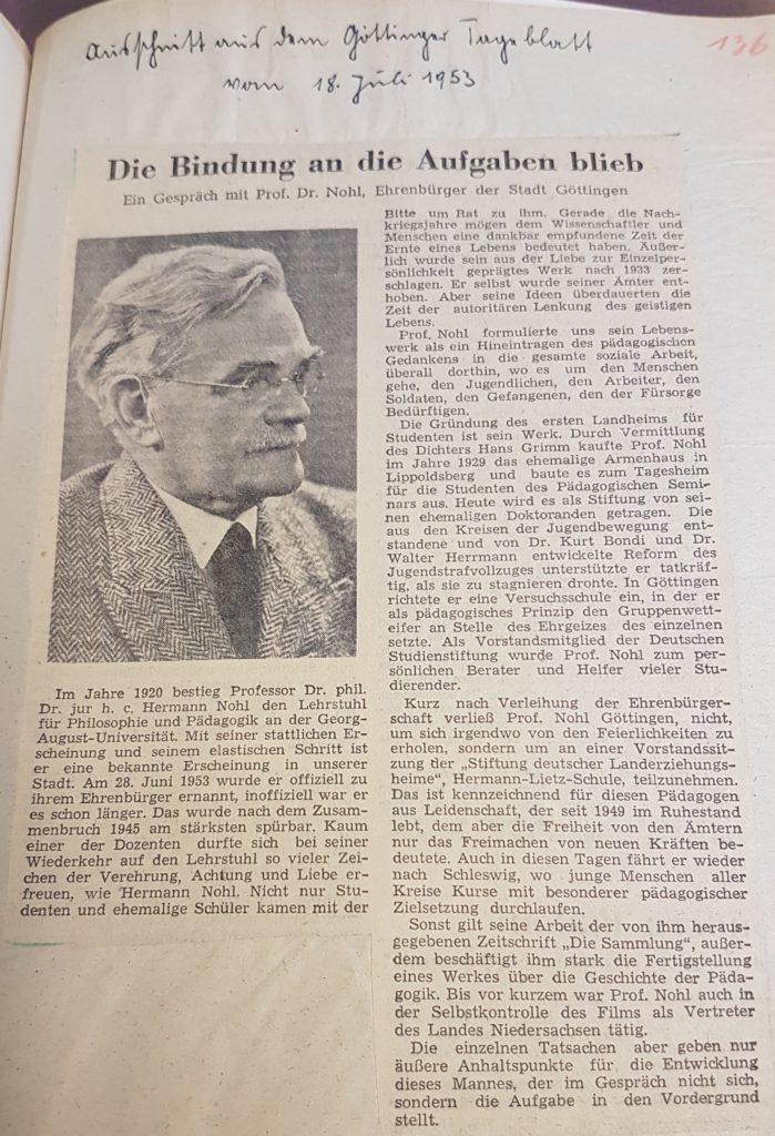 Zeitungsartikel im Göttinger Tageblatt vom 18. Juli 1953 über Herman Nohl, Ehrenbürger der Stadt Göttingen, und sein (pädagogisches) Wirken in Göttingen