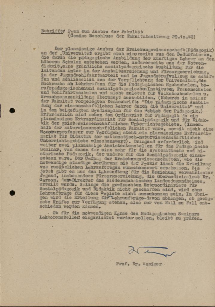 E. Wenigers Plan zum Ausbau der Erziehungswissenschaft an der Universität