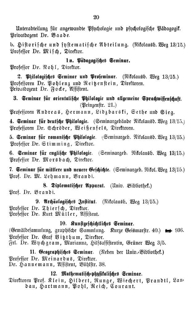 Eintrag des Pädagogischen Seminars im Amtlichen Namen-Verzeichnis der Georg-August-Universität zu Göttingen aus dem Wintersemester 1920/21, S. 20: Nikolausberger Weg 13/15.