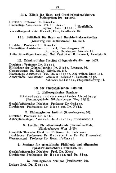 Eintrag des Pädagogischen Seminars im Amtlichen Namenverzeichnis Sommerhalbjahr 1929, Verzeichnis der Vorlesungen Winterhalbjahr 1929/30 der Georg-August-Universität zu Göttingen, S. 23.: Friedrichstraße 1