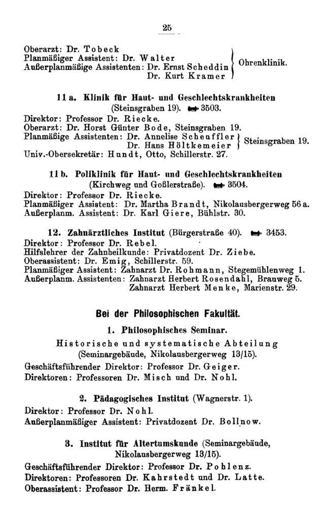 Eintrag des Pädagogischen Instituts im Amtlichen Namenverzeichnis Winterhalbjahr 1931/32, Verzeichnis der Vorlesungen Sommerhalbjahr 1932 der Georg-August-Universität zu Göttingen, S. 25: Wagnerstraße 1.