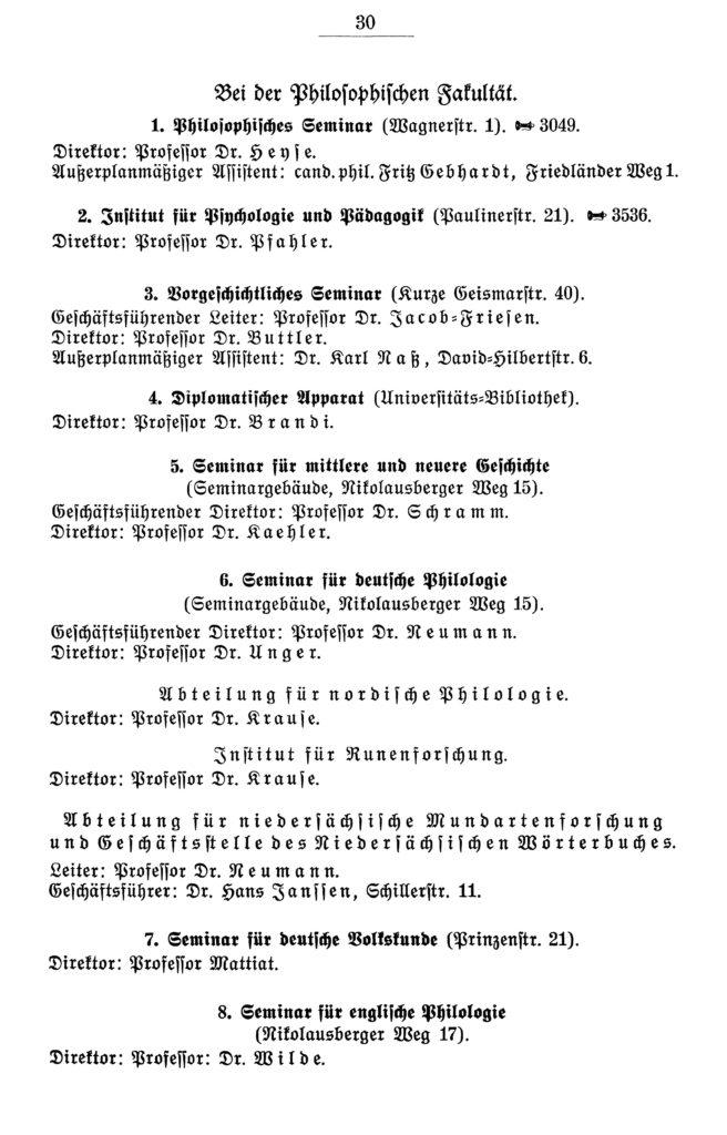 Eintrag des Pädagogischen Seminars - jetzt Institut für Psychologie und Pädagogik - im Amtlichen Namenverzeichnis, Verzeichnis der Vorlesungen Winterhalbjahr 1938/39 der Georg-August-Universität zu Göttingen, S. 30: Paulinerstraße 21.