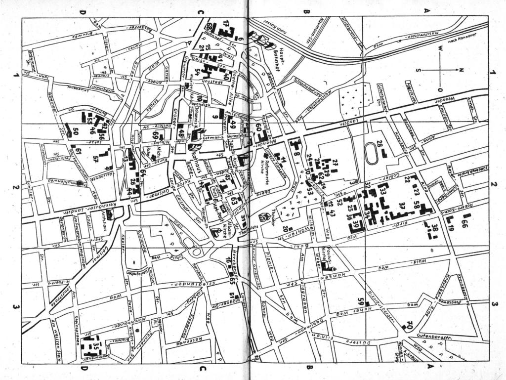 Eine Karte mit Universitätsgebäuden aus dem Verzeichnis der Vorlesungen, Alphabetisches Namen- und Adressenverzeichnis Sommersemester 1948 der Georg-August-Universität Göttingen, ohne Seitenangabe, 38. und 39. Seite des Verzeichnisses.