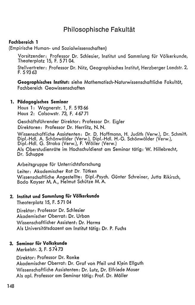 Eintrag des Pädagogischen Seminars im Vorlesungsverzeichnis Wintersemester 1971/72 der Georg-August-Universität Göttingen, S. 148.: Calsowstraße 73.