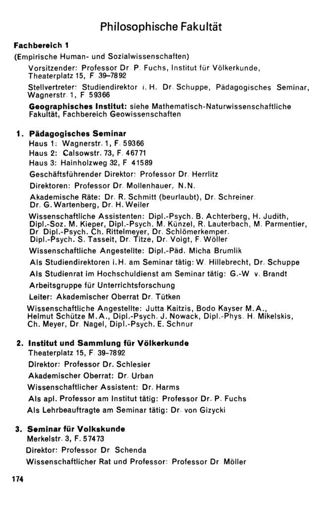 Eintrag des Pädagogischen Seminars im Vorlesungsverzeichnis Wintersemester 1974/75 der Georg-August-Universität Göttingen, S. 174: Hainholzweg 32.
