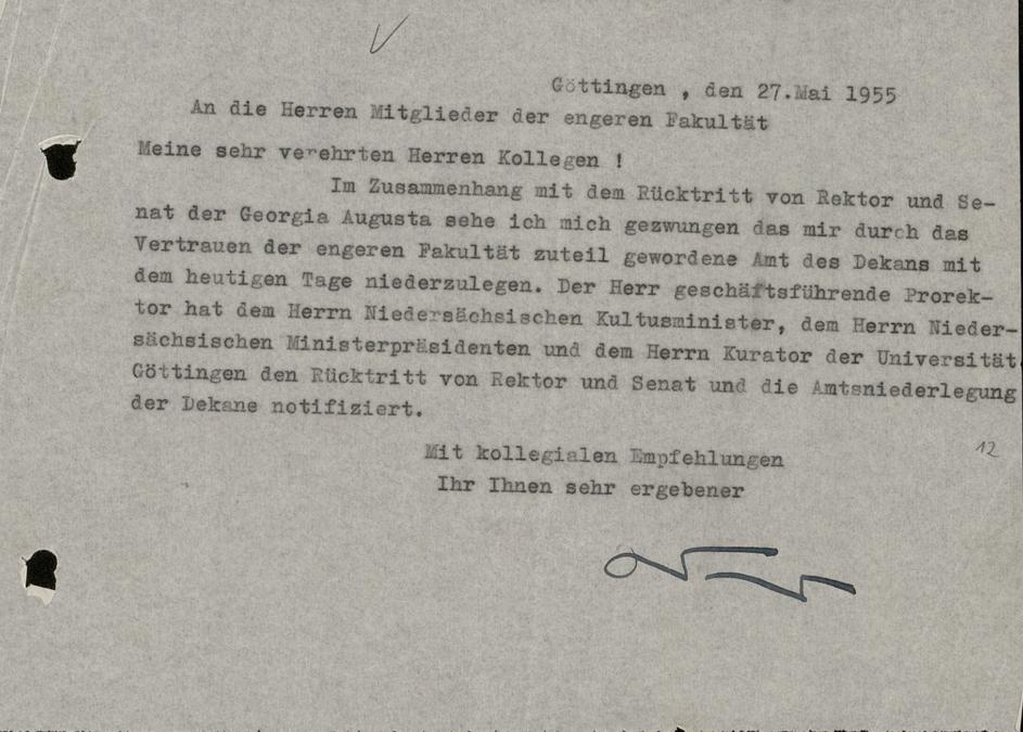 Information von Erich Weniger über seinen Rücktritt als Dekan im Rahmen der Amtsniederlegung des Rektors und Senats der Georgia Augusta.