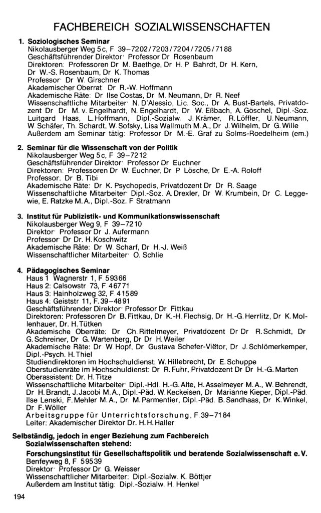 Eintrag des Pädagogischen Seminars im Vorlesungsverzeichnis Wintersemester 1981/82 der Georg-August-Universität Göttingen, S. 194: Geiststraße 11.