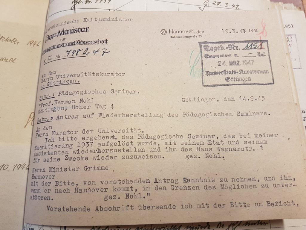 Nohls wiederholter Antrag beim Kurator der Universität auf Wiederherstellung des Pädagogischen Seminars in der Wagnerstraße