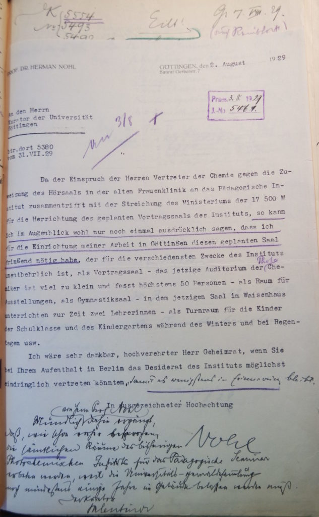 Brief Nohls an den Kurator vom 2.8.1929
