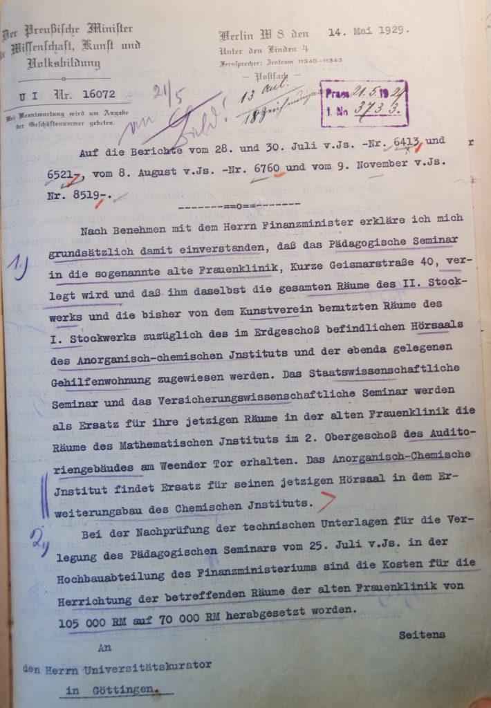 Brief des Preußischen Ministers für Wissenschaft, Kunst und Volksbildung an den Kurator vom 14.5.1929, Seite 1. Quelle: Universitätsarchiv Göttingen, Kuratorium, Kur. 2452.