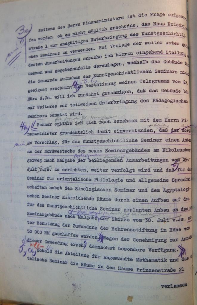 Brief des Preußischen Ministers für Wissenschaft, Kunst und Volksbildung an den Kurator vom 14.5.1929, Seite 2. Quelle: Universitätsarchiv Göttingen, Kuratorium, Kur. 2452.