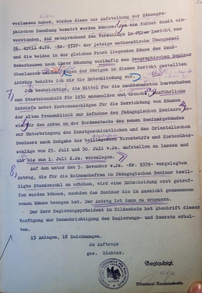 Brief des Preußischen Ministers für Wissenschaft, Kunst und Volksbildung an den Kurator vom 14.5.1929, Seite 3. Quelle: Universitätsarchiv Göttingen, Kuratorium, Kur. 2452.