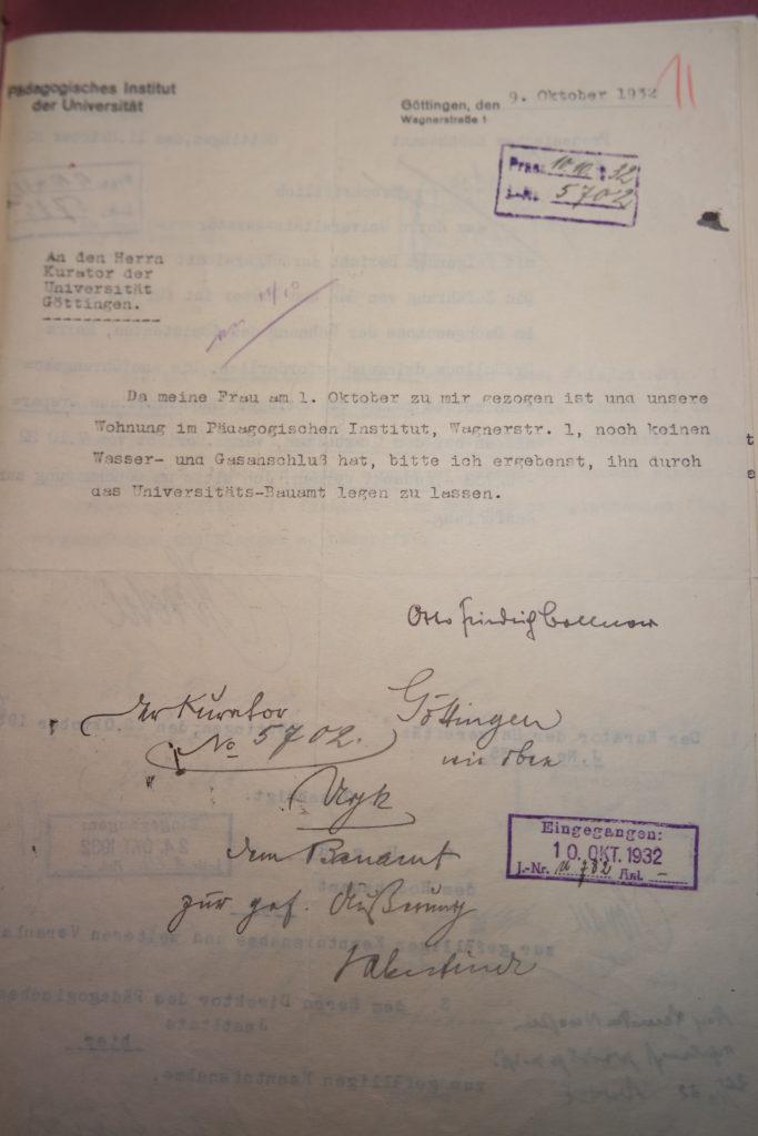 Wie aus einem Brief vom 09.10.1932 an den Universitätskurator ersichtlich wird, dient die Wagnerstraße 1 zugleich als Wohnraum für Otto Friedrich Bollnow. Quelle: Universitätsarchiv Göttingen, Kuratorium, Kur. 2654.