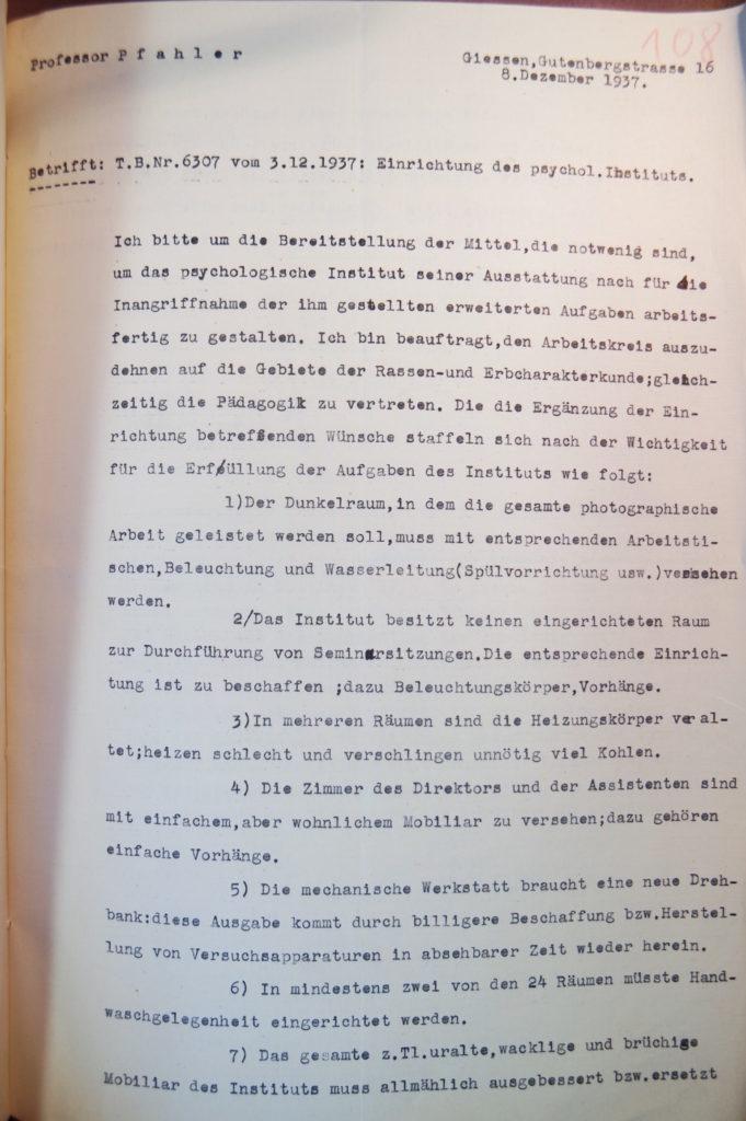 Schreiben Pfahlers zur Vertretung der Pädagogik vom 8.12.1937, Seite 1. Quelle: Universitätsarchiv Göttingen, Kuratorium, Kur. 2591, Blatt 108, Vorderseite.