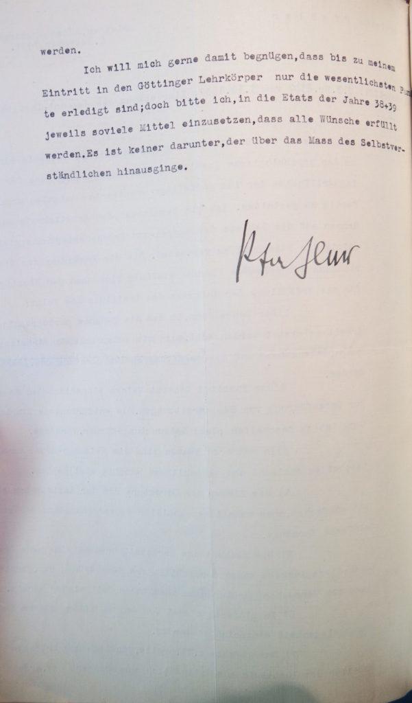 Schreiben Pfahlers zur Vertretung der Pädagogik vom 8.12.1937, Seite 1. Quelle: Universitätsarchiv Göttingen, Kuratorium, Kur. 2591, Blatt 108, Rückseite.
