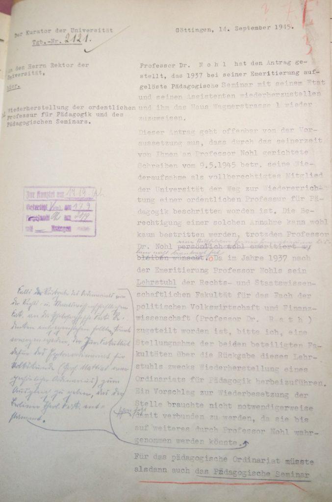 Herausforderungen bei der Wiedereinrichtung des Pädagogischen Seminars 1945, Seite 1