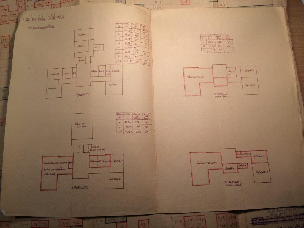Bauplan des Pädagogischen Seminars in der alten Frauenklinik