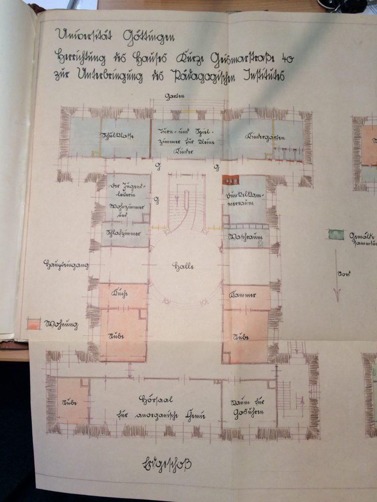Raumplanung des Pädagogischen Instituts in der alten Frauenklinik
