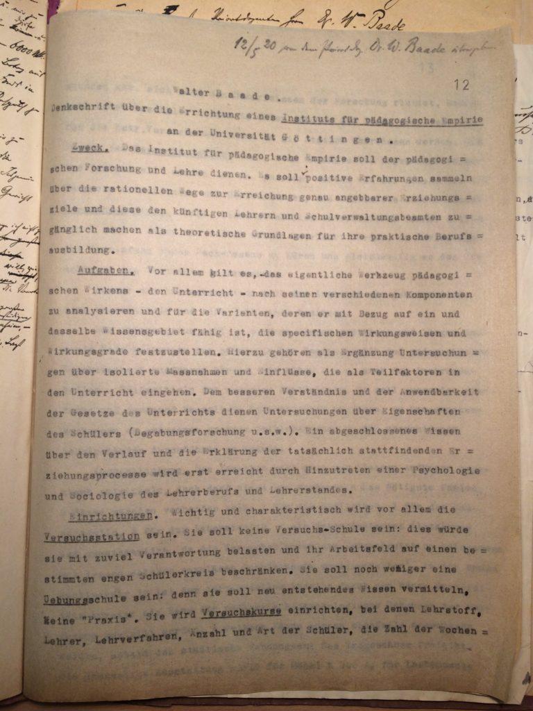 Denkschrift zur Errichtung eines Instituts für pädagogische Empirie von Walter Baade