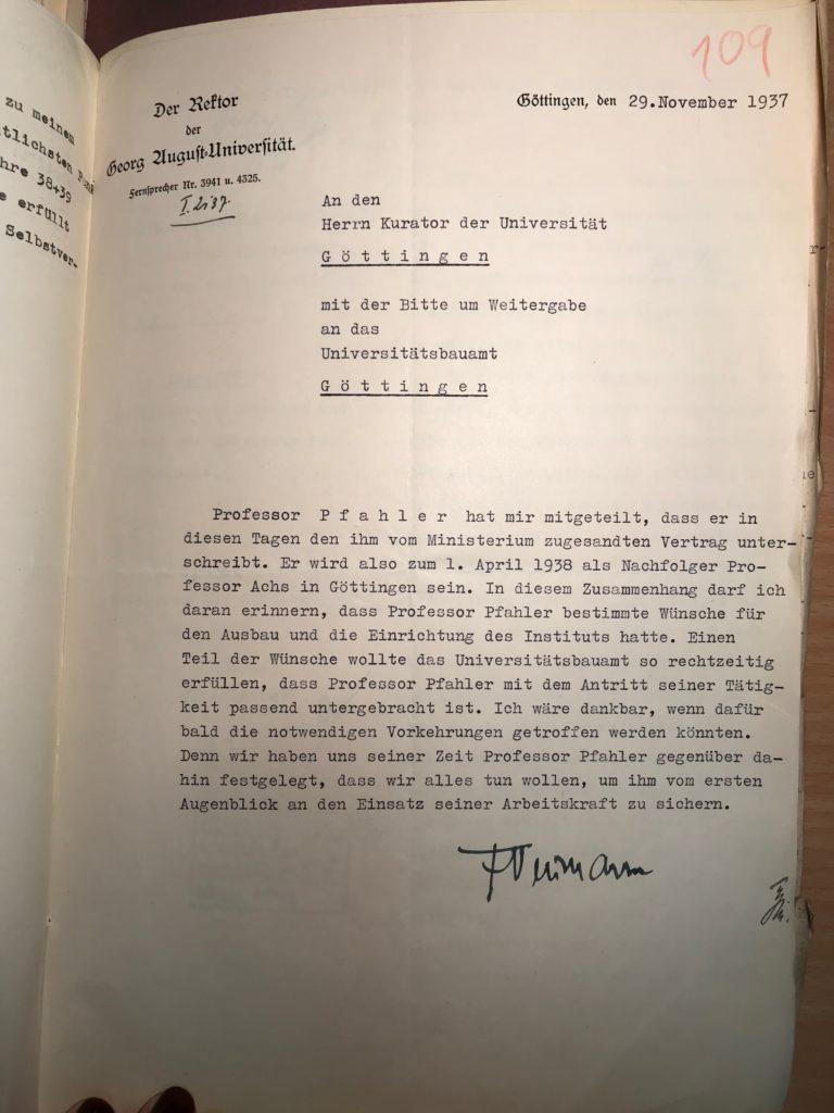 Brief an den Kurator der Universität, der an das Bauamt weitergeleitet werden soll