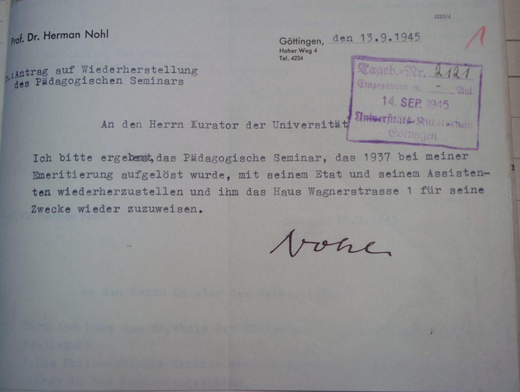 Schreiben von Herman Nohl an den Universitätskurator vom 13.9.1945, Quelle: Göttinger Universitätsarchiv, Kuratorium, Kur. 1264
