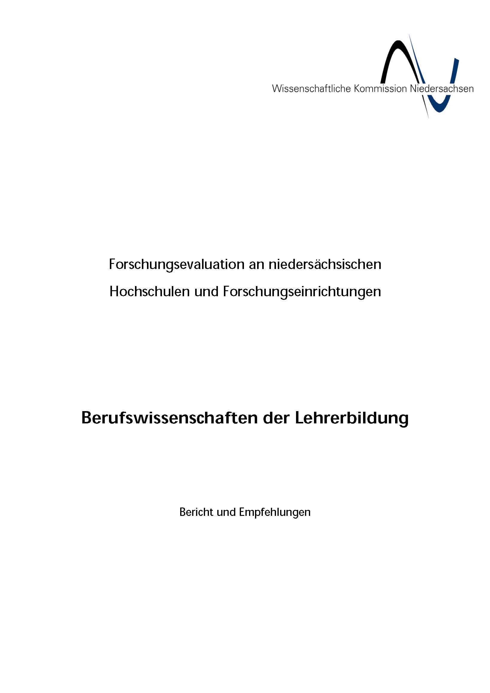 WKN 2002 Evaluationsbericht Berufswissenschaften der Lehrerbildung in Niedersachsen - Auszüge Göttingen_Seite_14