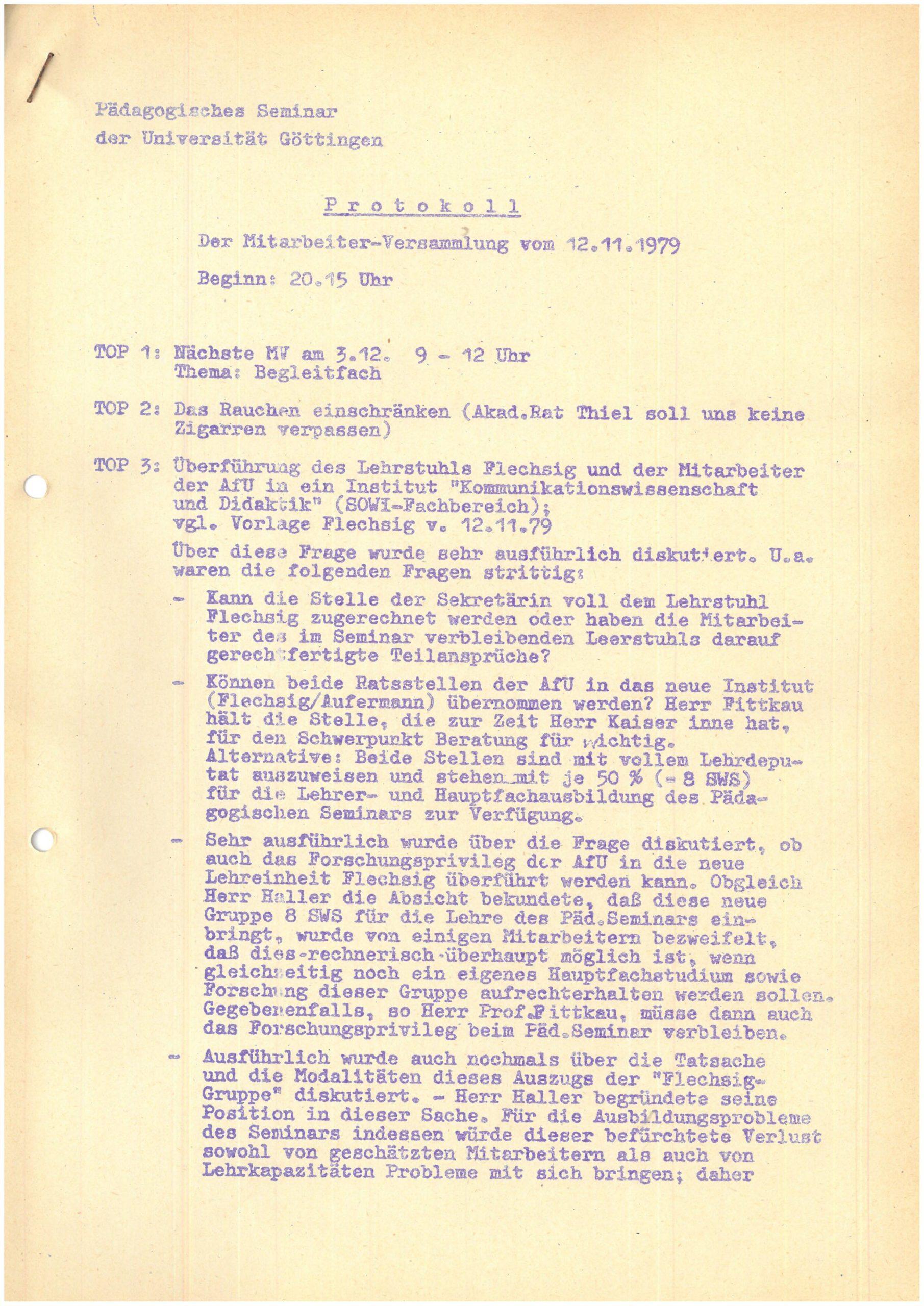 12.11.1979 Protokoll Mitarbeiterversammlung Rauchen