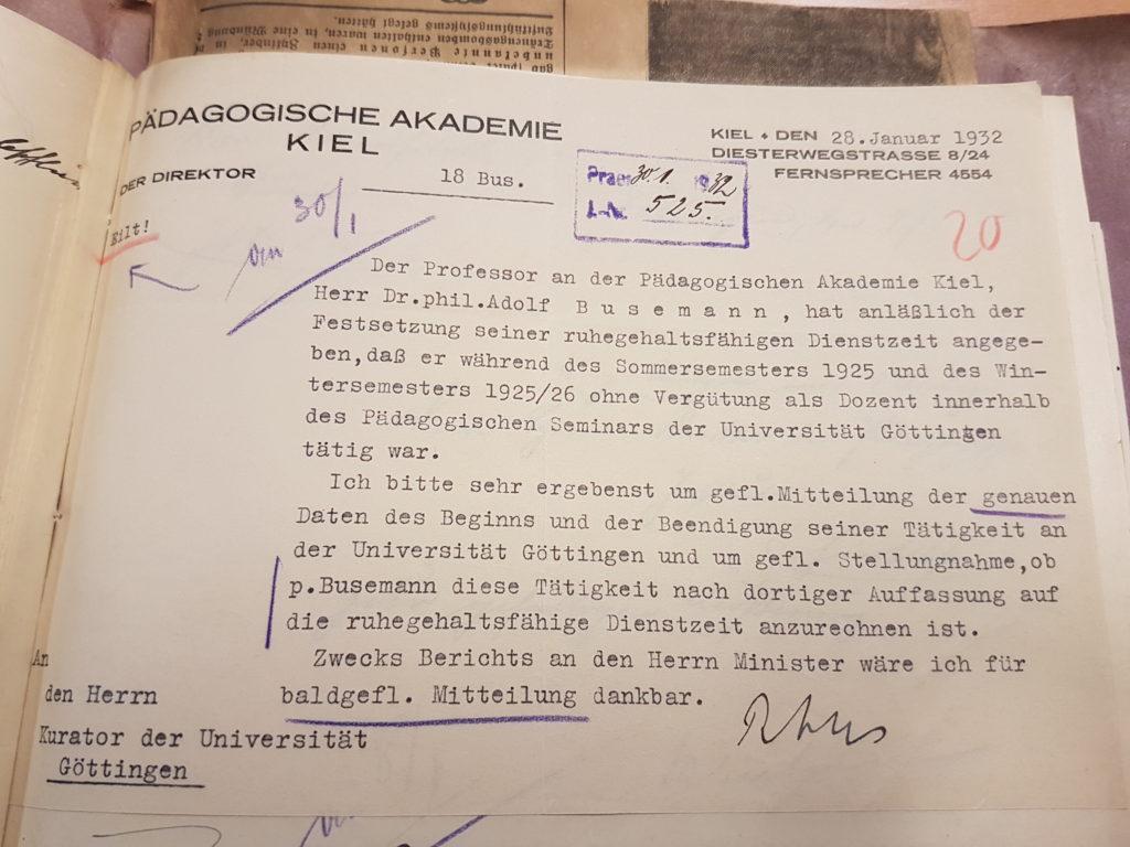 Dozententätigkeit Busemann