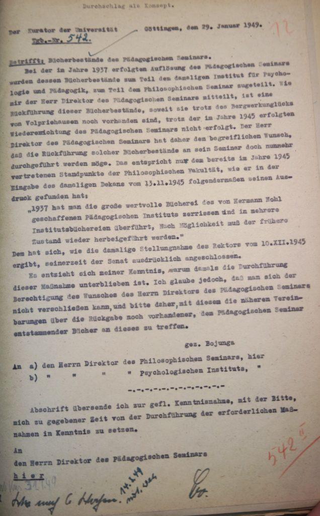 Brief des Kurators der Universität vom 29.01.1949 an die Direktoren des Philosophischen Seminars und des Psychologischen Instituts. Quelle: Universitätsarchiv Göttingen, Kur. 1264, 12.