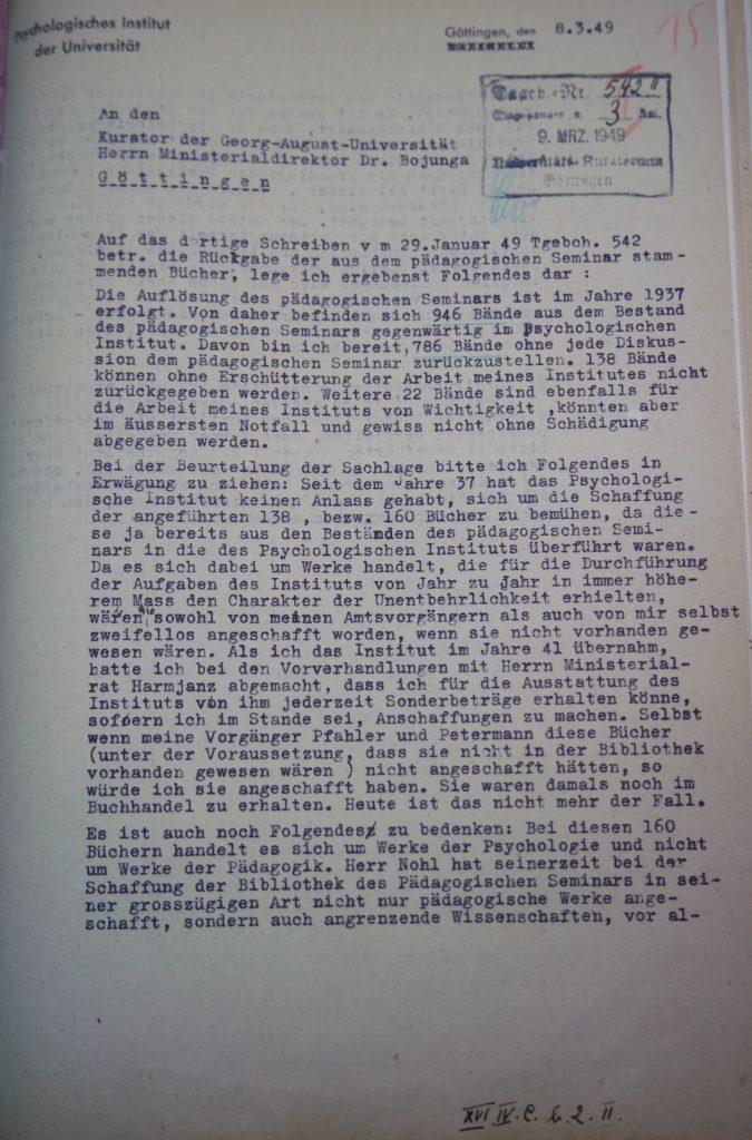 Brief von Alleschs an den Kurator der Universität vom 08.03.1949, Seite 1. Quelle: Universitätsarchiv Göttingen, Kur. 1264, 15 (VS).