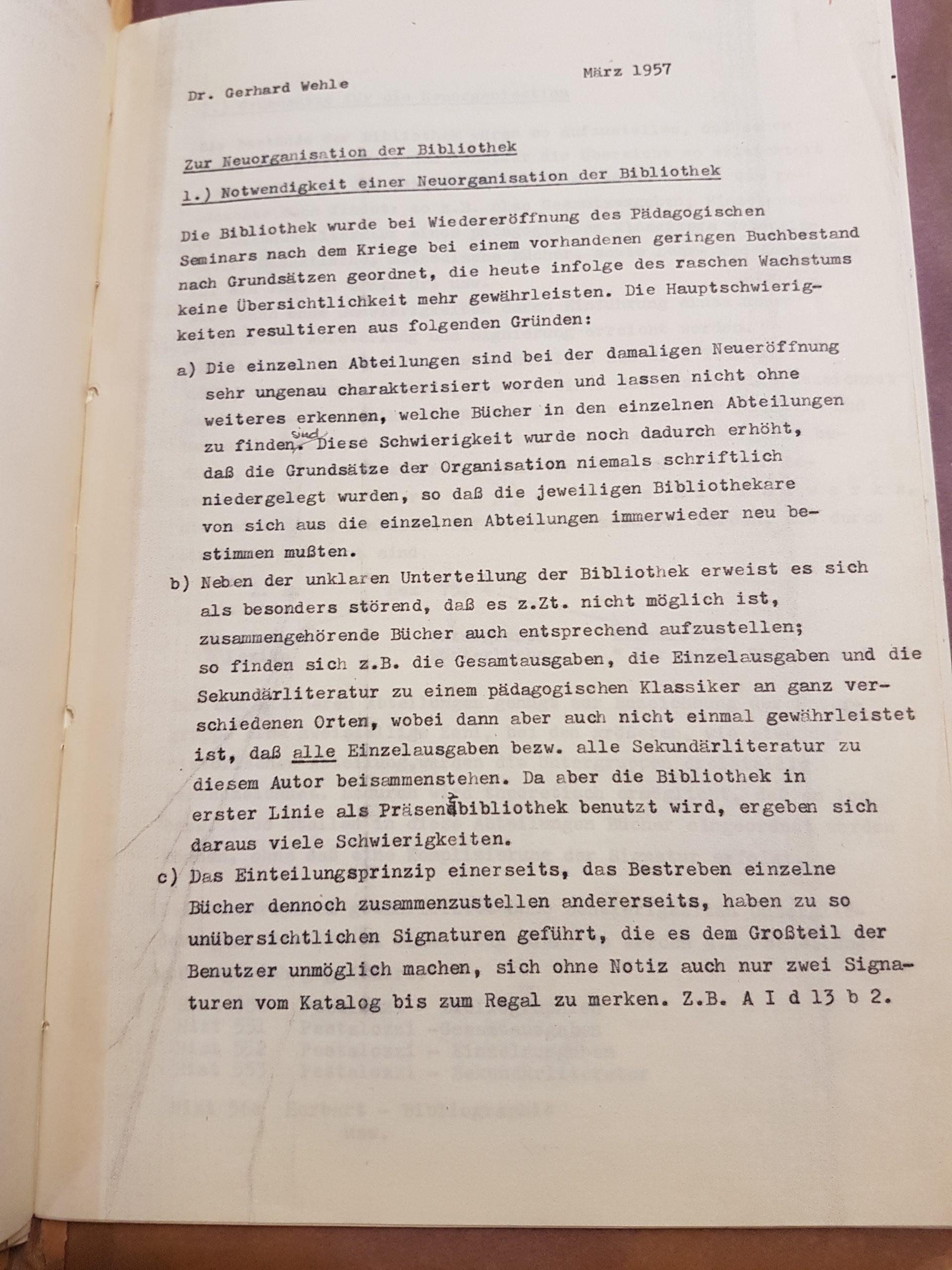 Entwurf Dr. Gerhard Wehles zur Neuordnung der Bibliothek des Pädagogischen Seminars vom März 1957, Seite 1. Quelle: Universitätsarchiv Göttingen, Kur. 1265, 41.